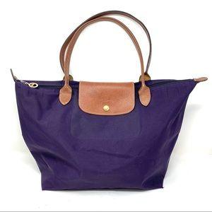 Longchamp purple medium Le Pilage Tote A356